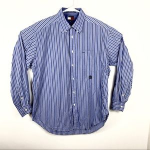 TOMMY HILFIGER Men M Blue White Gingham Striped